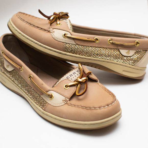 Sperry Angelfish Gold Glitter Top Sider Boat Shoes